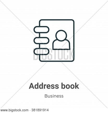 Address book icon isolated on white background from business collection. Address book icon trendy an