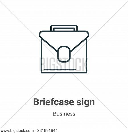 Briefcase sign icon isolated on white background from business collection. Briefcase sign icon trend