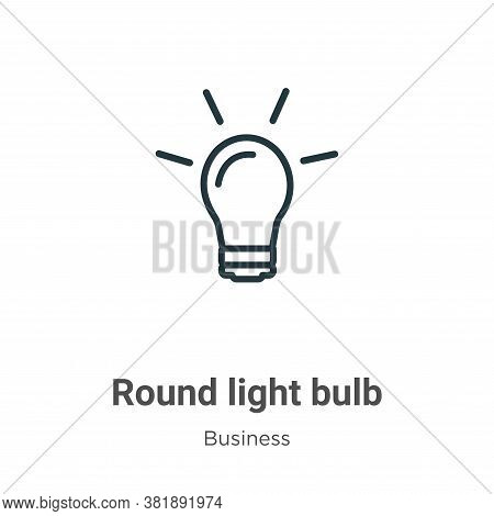 Round light bulb icon isolated on white background from business collection. Round light bulb icon t