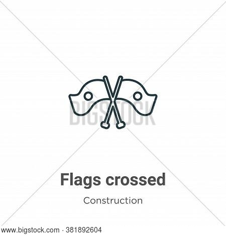 Flags crossed icon isolated on white background from construction collection. Flags crossed icon tre