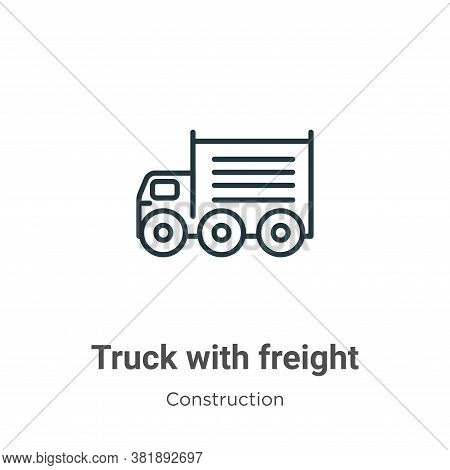 Truck with freight icon isolated on white background from construction collection. Truck with freigh