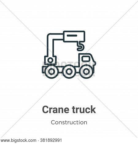 Crane truck icon isolated on white background from construction collection. Crane truck icon trendy