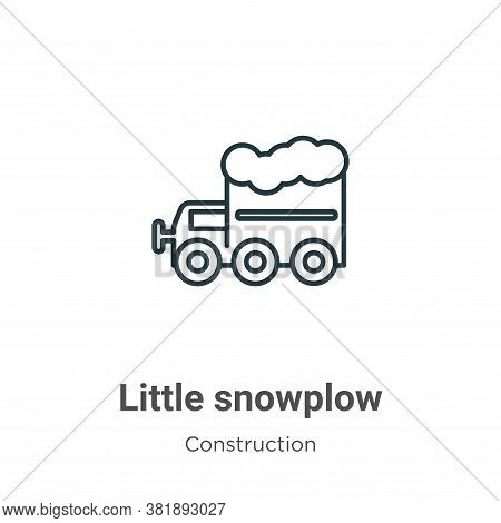 Little snowplow icon isolated on white background from construction collection. Little snowplow icon