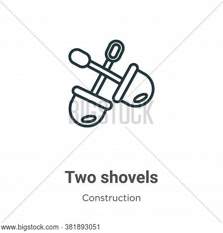 Two shovels icon isolated on white background from construction collection. Two shovels icon trendy