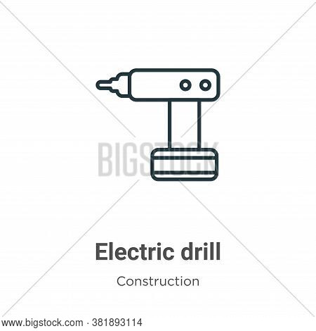 Electric drill icon isolated on white background from construction collection. Electric drill icon t
