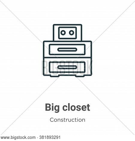 Big closet icon isolated on white background from construction collection. Big closet icon trendy an