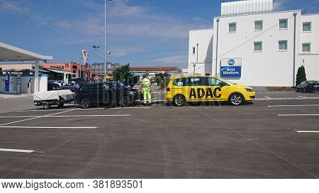 Bad Rappenau, Germany- July 21, 2020: The Adac General German Automobile Club Service Man From Yello