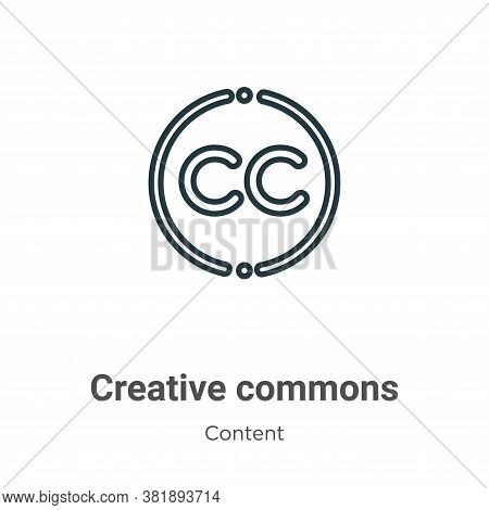 Creative Commons Icon From Content Collection Isolated On White Background.