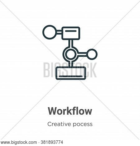 Workflow icon isolated on white background from creative pocess collection. Workflow icon trendy and