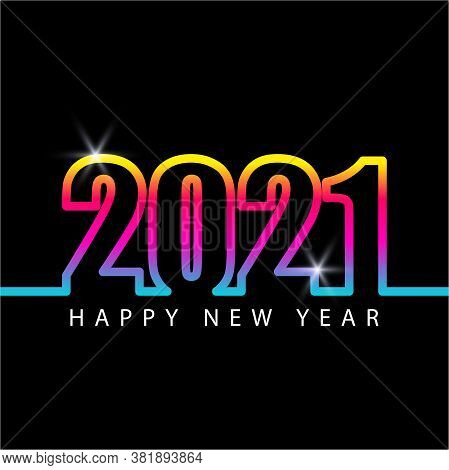 Happy New Year 2021. Colorful 2021 Elegant Design. 2021 Vector Illustration. Number Of Calendar. 202