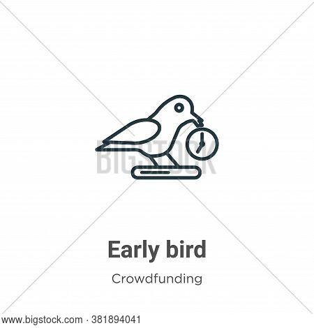 Early bird icon isolated on white background from crowdfunding collection. Early bird icon trendy an