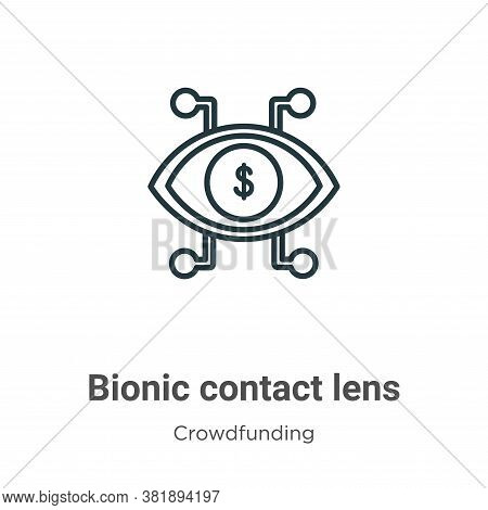 Bionic contact lens icon isolated on white background from crowdfunding collection. Bionic contact l