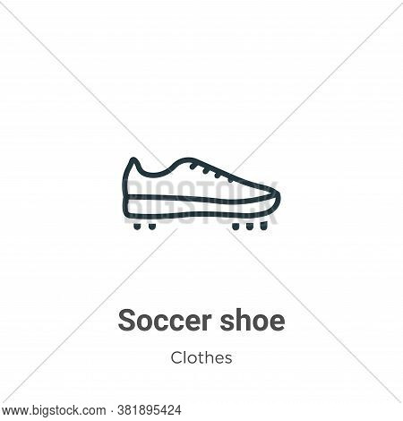 Soccer shoe icon isolated on white background from clothes collection. Soccer shoe icon trendy and m