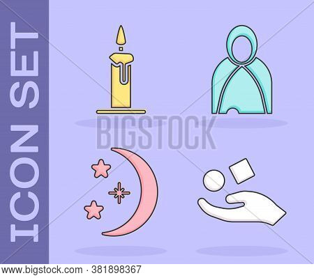 Set Cube Levitating Above Hand, Burning Candle In Candlestick, Moon And Stars And Mantle, Cloak, Cap