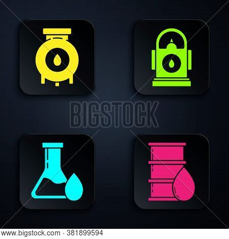 Set Barrel Oil, Oil And Gas Industrial Factory Building, Oil Petrol Test Tube And Petrol Or Gas Stat