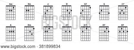 Guitar Chords Icon Set. Guitar Lesson Vector Illustration Isolated On White. Basic Chords Am, Em, C,