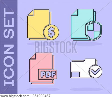 Set Document Folder And Check Mark, Finance Document, Pdf File Document And Document Protection Conc