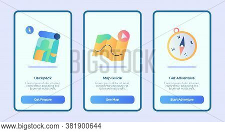Backpack Map Guide Get Adventure For Mobile Apps Template Banner Page Ui With Three Variations Moder