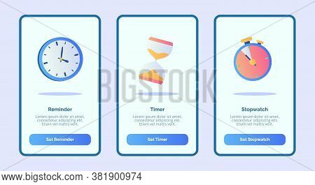 Reminder Timer Stopwatch For Mobile Apps Template Banner Page Ui With Three Variations Modern Flat C