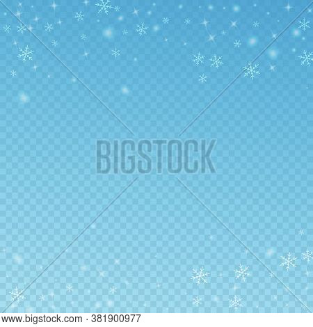 Sparse Glowing Snow Christmas Background. Subtle Flying Snow Flakes And Stars On Blue Transparent Ba