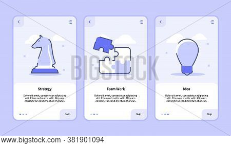 Strategy Team Work Idea Onboarding Screen For Mobile Apps Template Banner Page Ui With Three Variati