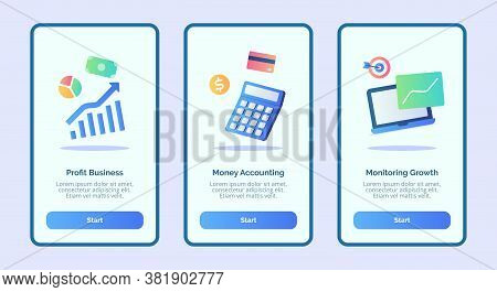 Profit Business Money Accounting Monitoring Growth For Mobile Apps Template Banner Page Ui With Thre