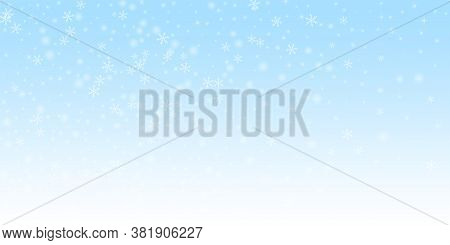 Sparse Glowing Snow Christmas Background. Subtle Flying Snow Flakes And Stars On Night Sky Backgroun