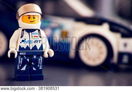 Tambov, Russian Federation - October 18, 2019 Lego Ford Fiesta M-sport Wrc Driver Minifigure Against