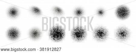 12 Halftone Circle Big Set. Popart Grange Clipart. Abstract Round Halftone Circle Vector. Artistic A