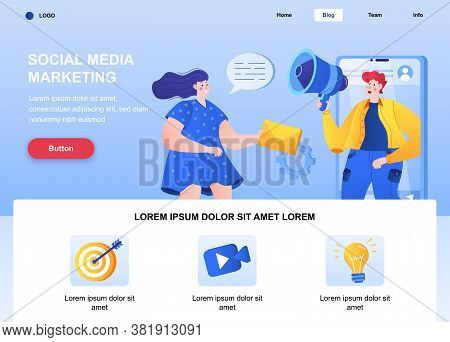 Social Media Marketing Flat Landing Page. Marketer Announce In Megaphone Web Page. Composition With