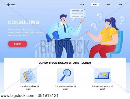 Consulting Flat Landing Page. Consultant Talking With Client Web Page. Colorful Composition With Peo