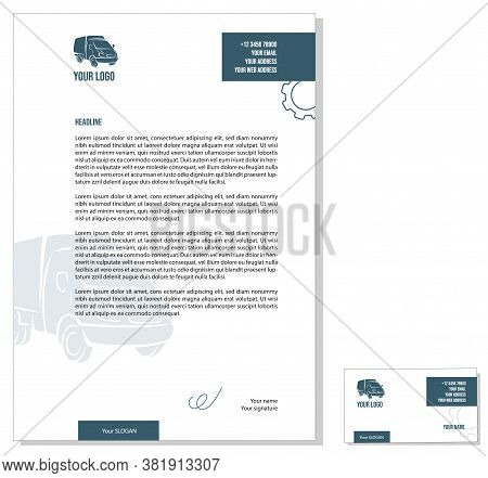Letterhead Template With Lorry Background. Corporate Identity For A Transport Company.