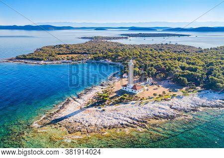 Amazing Croatia, Spectacular Adriatic Coastline, Lighthouse Of Veli Rat On The Island Of Dugi Otok,