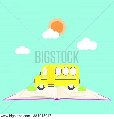 Back To School Banner With School Bus On Open Book.