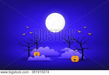 Happy Halloween Banner Or Poster Background With Big Moon, Night Clouds, Bare Tree, Pumpkins And Bat
