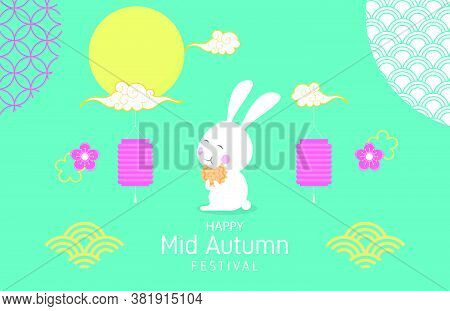 Mid Autumn Festival Background With Happy Rabbit And Decoration. Poster And Banner.