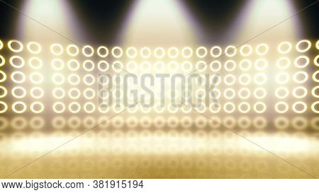 Background Of Empty Room With Spotlights And Lights. Abstract Sparkling Background. Illuminated Stag
