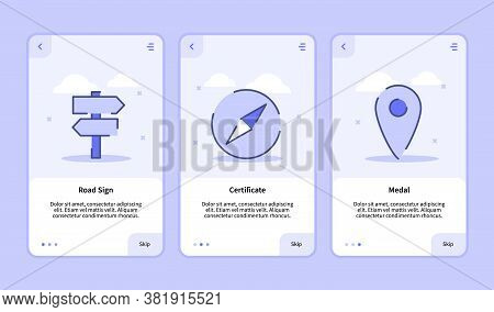 Onboarding Screen For Mobile Apps Template Banner Page Ui With Three Variations Modern Flat Outline