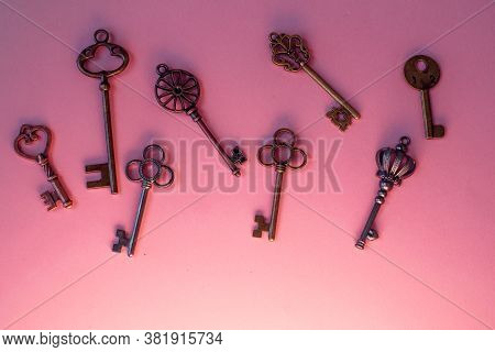 Many Different Old Keys From Different Locks, In Order, Flat Lay. Finding The Right Key, Encryption,