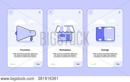 Promotion Marketplace Package Onboarding Screen For Mobile Apps Template Banner Page Ui With Three V