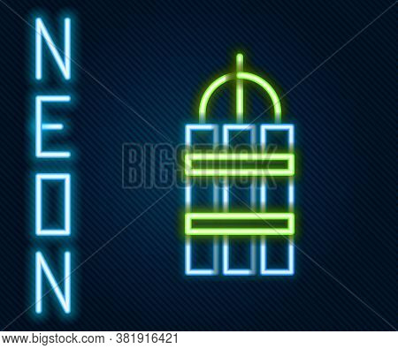 Glowing Neon Line Detonate Dynamite Bomb Stick And Timer Clock Icon Isolated On Black Background. Ti