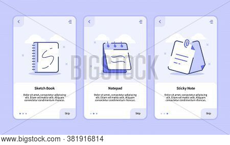 Sketch Book Notepad Sticky Note Onboarding Screen For Mobile Apps Template Banner Page Ui With Three