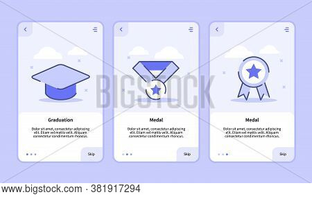 Graduation Medal Onboarding Screen For Mobile Apps Template Banner Page Ui With Three Variations Mod