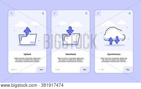 Upload Download Synchronous Onboarding Screen For Mobile Apps Template Banner Page Ui With Three Var