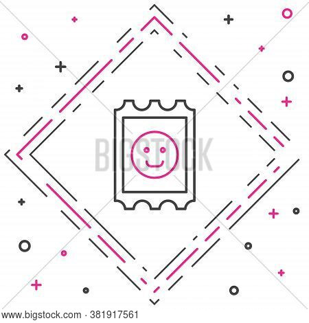 Line Lsd Acid Mark Icon Isolated On White Background. Acid Narcotic. Postmark. Postage Stamp. Health