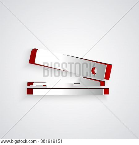 Paper Cut Office Stapler Icon Isolated On Grey Background. Stapler, Staple, Paper, Cardboard, Office