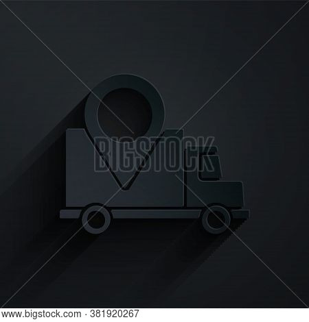 Paper Cut Delivery Tracking Icon Isolated On Black Background. Parcel Tracking. Paper Art Style. Vec