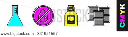 Set Oil Petrol Test Tube, No Oil Drop, Oil Petrol Test Tube And Barrel Oil Icon. Vector