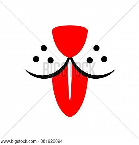 Dog With Red Tongue Like Tie Logo. Cute Happy Pet With Smile Face Line Design. Doggy Flat Abstract E