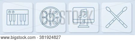 Set Line Music Synthesizer, Computer With Music Note, Dial Knob Level Technology Settings And Drum S